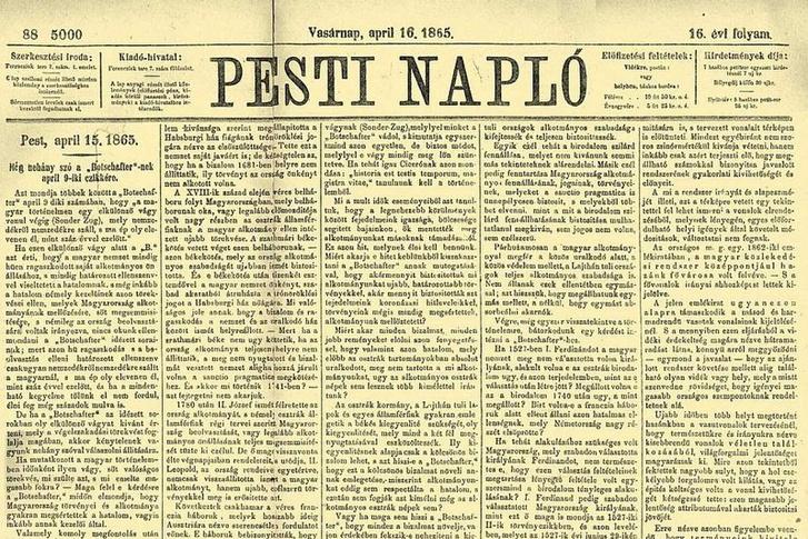 Deák Ferenc húsvéti cikke a Pesti Napló 1865. április 16-i számából