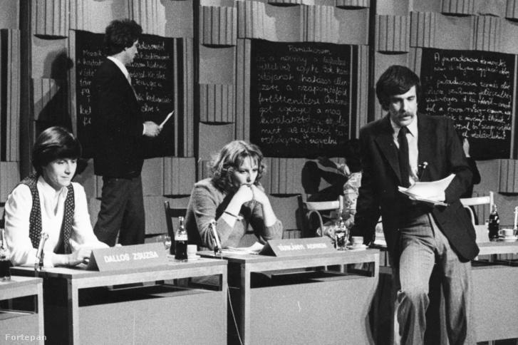 Déri János riporter az MTV stúdiójában 1984-ben