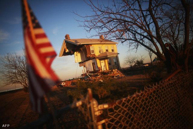 Romos ház a Sandy hurrikán után New Jersey-ben