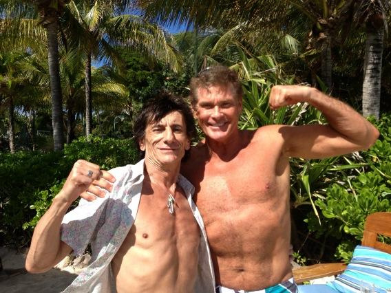 Ronnie Wood és David Hasselhoff a Necker-szigeten