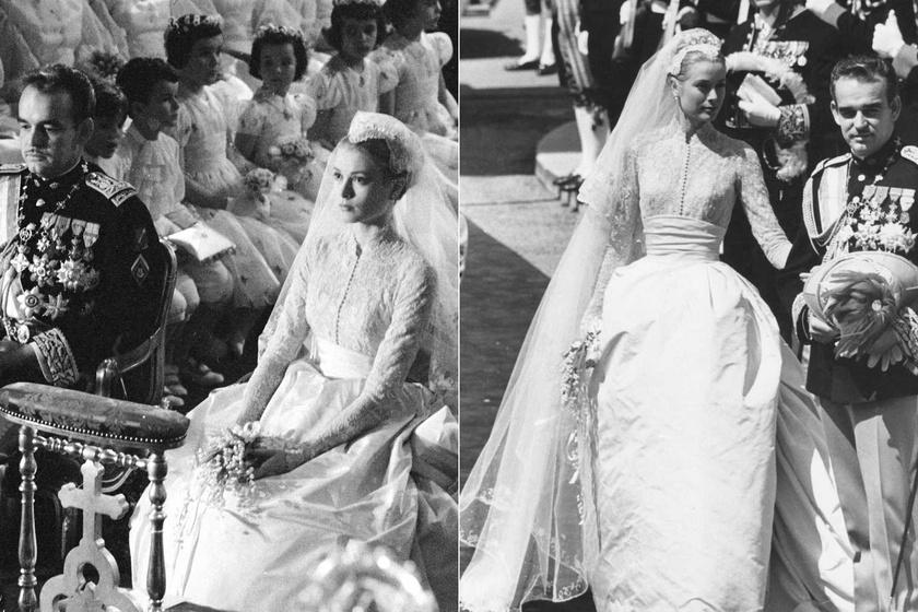 Grace Kelly számára Helen Rose álmodta meg ezt a gyönyörű csipkecsodát. Minden idők egyik legszebb menyasszonyi ruhájaként tartjuk számon.