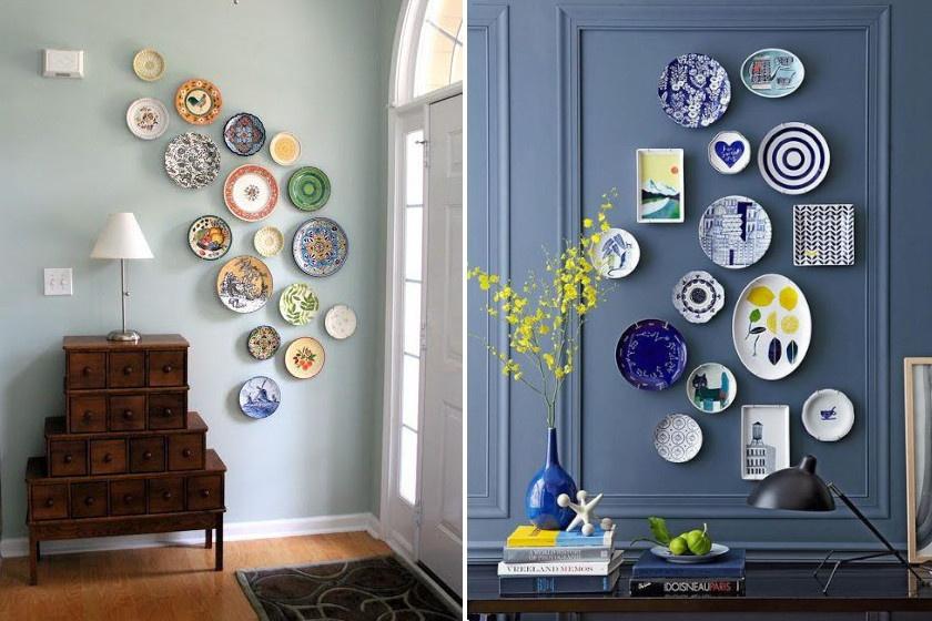 Nagymamáink idején divat volt dísztányérokkal díszíteni a falat, és ez a trend most újra virágkorát éli. Akassz fel néhány szép mintázatút dekoratív összevisszaságban!