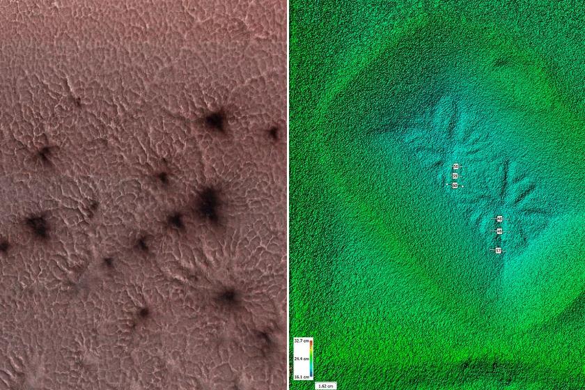 Balra a marsi pókok, jobbra a rekonstruáltak láthatók.