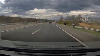 Videó: leestek a dobozok egy román kisbuszról, kisebb káosz tört ki az M1-esen