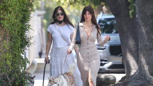 Leonardo DiCaprio barátnője a szokásos színében ment kutyát sétáltatni