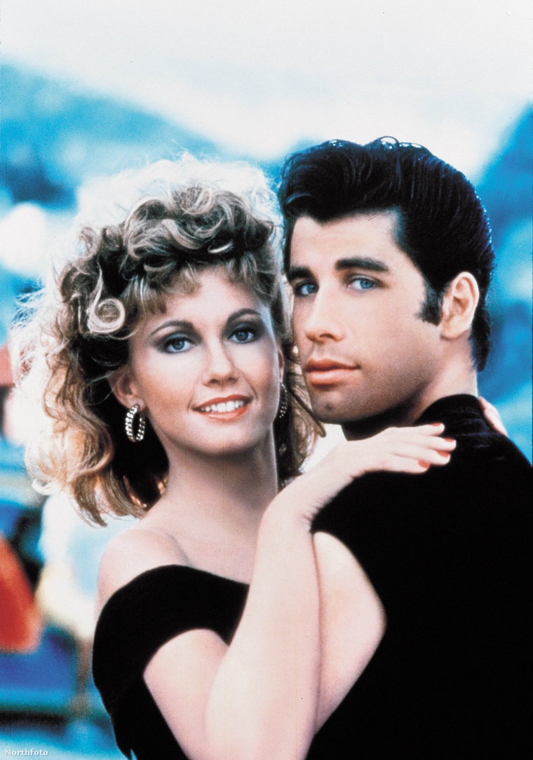 Olivia Newton-John az 1978-as Grease-ben Sandy szerepében és John Travolta, aki Dannyt alakította. Kattintson a képre nagyobb verzióért!