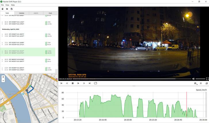 A program egyben játssza le az 1-2-3-5-10 perces darabokra szeletelt fájlokat, azaz egy-egy utat egyben látunk, sebességadatokkal, térképpel