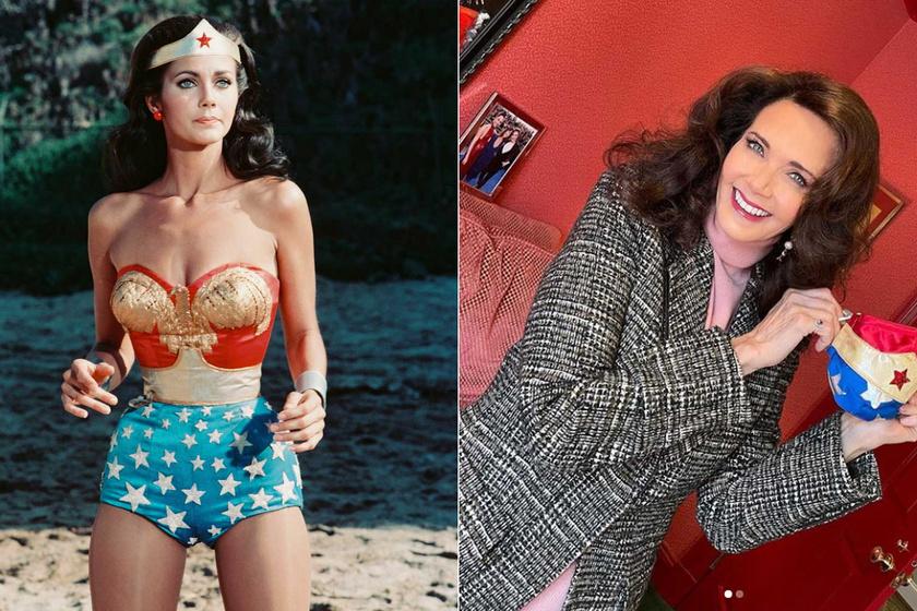 Lynda Carter 1977-ben a Wonder Woman forgatásán, és 2020 decemberében az Instagramon.