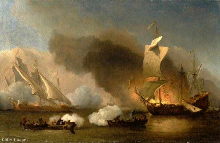Kalózokkal történő összecsapás a Földközi-tengeren egy korabeli festmény alapján