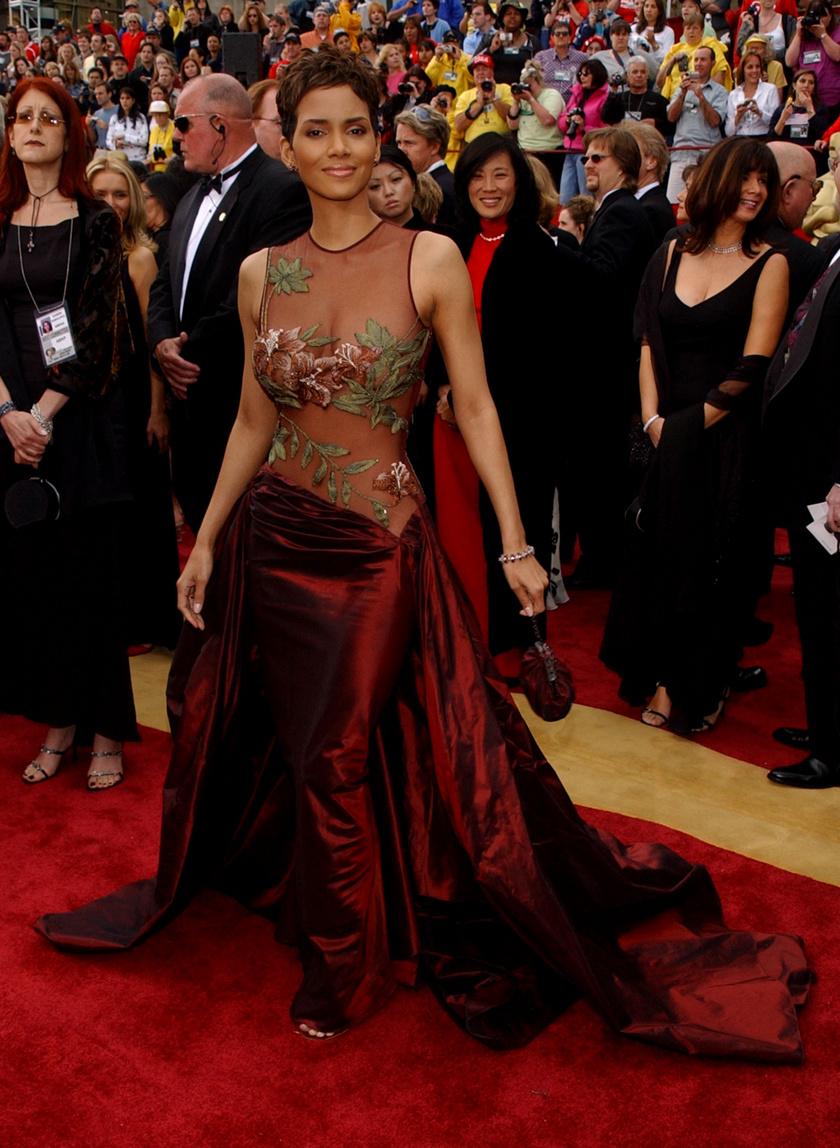 Halle Berry ebben az Elie Saab kreációban érkezett a 2002-es díjátadóra. Nemcsak a megjelenése maradt emlékezetes, hanem történelmet is írt aznap este. Ő lett az első afroamerikai színésznő, aki megnyerte a legjobb női főszereplőnek járó aranyszobrot.