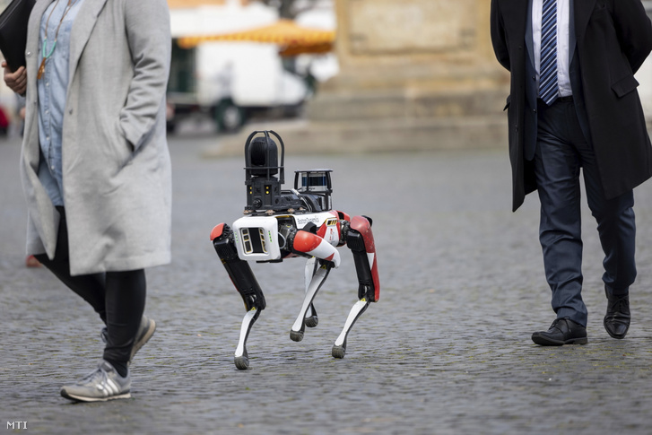 Spot, a Boston Dynamics által fejlesztett robotkutya járőrözik a németországi Erfurt belvárosában 2021. április 20-án. A Ciborius, egy mesterséges intelligenciára épülő biztonsági megoldásokat szolgáltató berlini vállalat a városban tesztelte a nagy felbontású, 360 fokos kamerával, nagy fényerejű LED-es lámpával és fényérzékelővel rendelkező, önálló járőrözésre is képes robotkutyáját