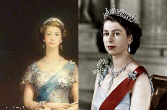 II. Erzsébet portréja 1952-ből és egy kép ugyanabból az évből a királynőről közelről