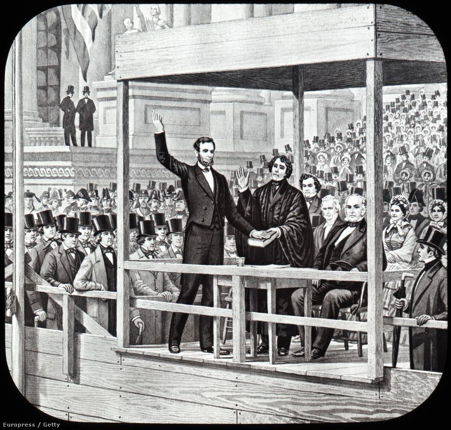 Abraham Lincoln (1809-1865) elnöki beszéde 1865. március 4-én. A New York Times szerint Lincoln volt az egyetlen amerikai elnök, akinek második beiktatási beszéde nem volt hosszú és unalmas. Lincoln valóban rövidre fogta: beszéde mindössze 701 szóból állt.