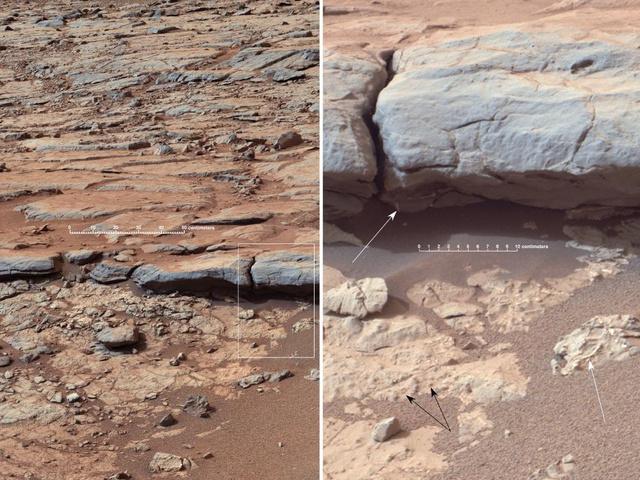 Vízmosásra utaló nyomok a Gale-kráter kövein