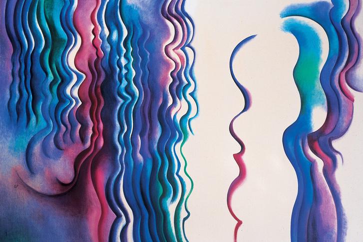 Keserü Ilona: Rekonstrukció 1990, olaj, vászon, 120 × 170 cm Musée National d'Art Moderne–Centre Pompidou