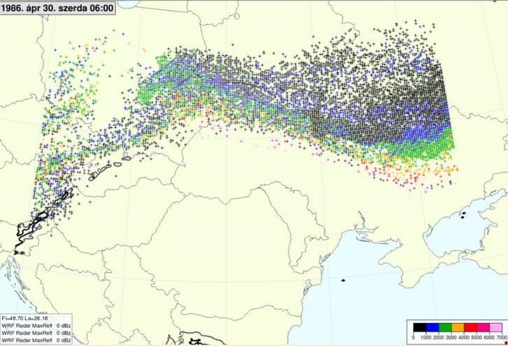 Radioaktív részecskék helyzete 1986. április 30-án. Jól látható, hogy ekkor még elkerült minket a sugárszennyezés