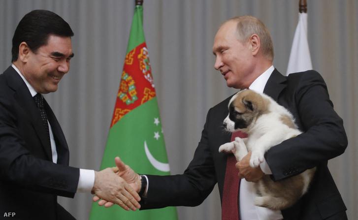 Gurbanguly Berdimukhammedow és Vlagyimir Putyin 2017-es találkozója.