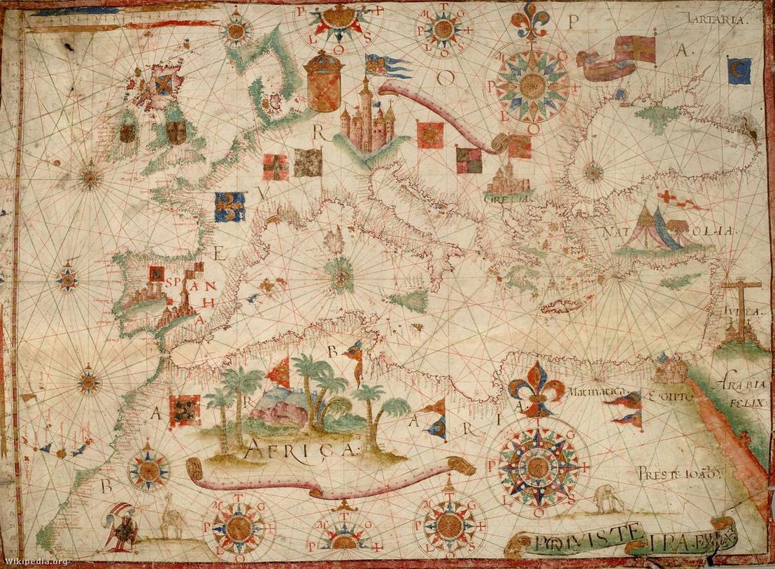 A mediterrán tenger 1600-as években használt térképe
