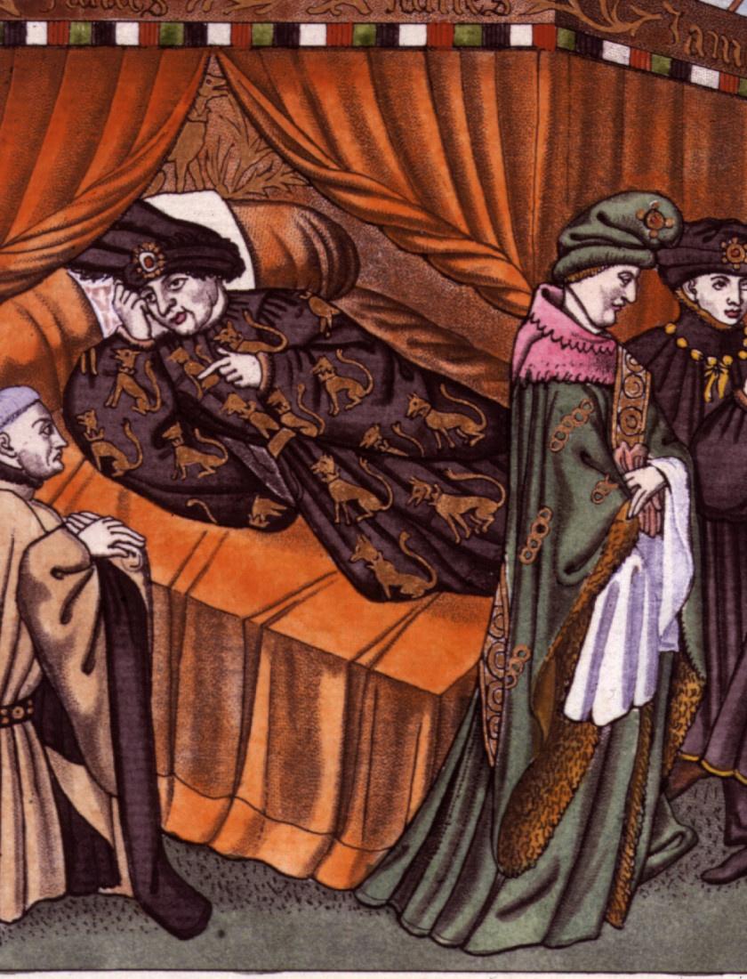 Az ágyban fekvő VI. Károly.