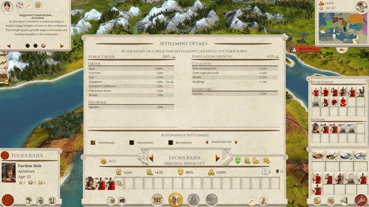 Városmenedzsment-képernyő. Éppen a Juliusok fővárosát, Arretiumot látjuk