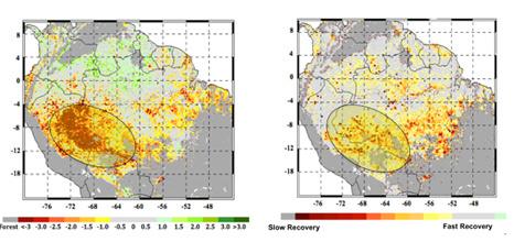 Bal oldalon a 2005-ös aszály kiterjedése látható, jobb oldalon pedig az a terület van bekarikázva, ahol lassan állt helyre az őserdő. A vörös és sárga színnel jelölt területek szenvednek a legjobban az aszály hatásától (NASA/JPL-Caltech)
