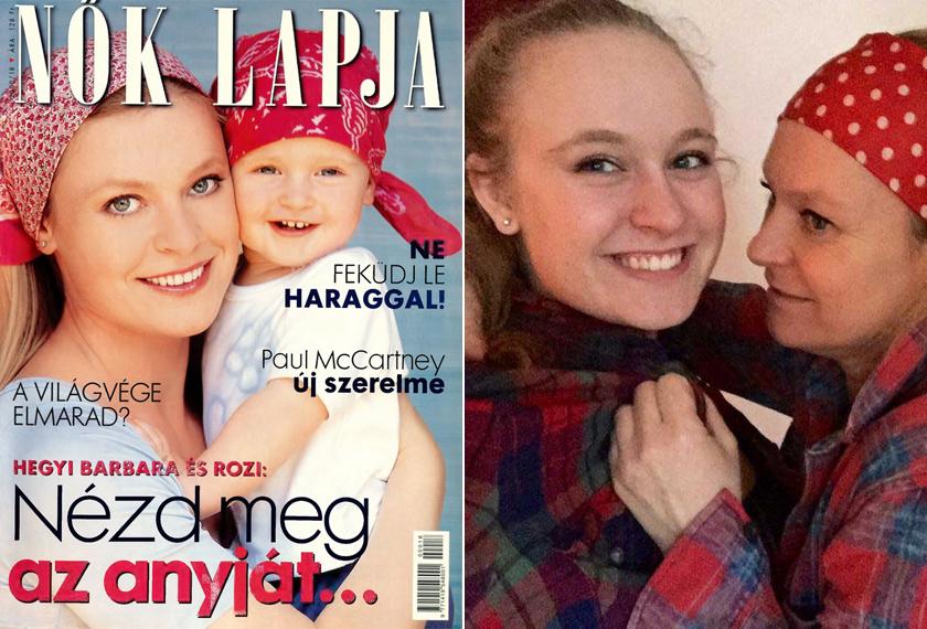Anya és lánya 2000-ben, illetve 2016-ban a kockás inges kihíváson - a színésznő ezúttal is fejkendőben.