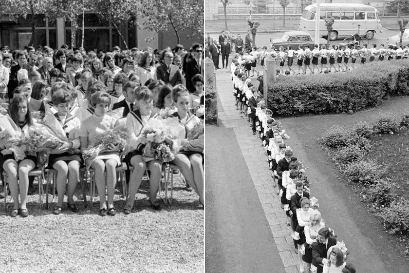Ilyenek voltak a ballagási ünnepségek a '70-es, '80-as években: azóta sok minden változott
