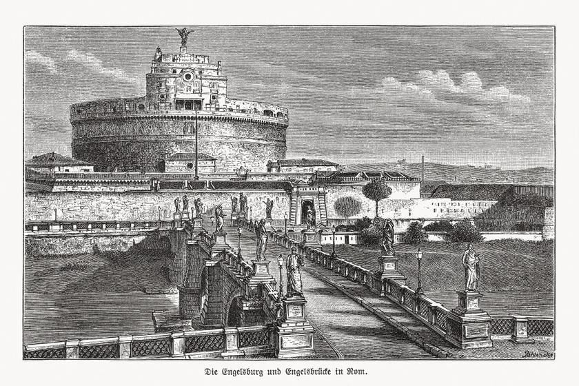 A római Angyalvár egy 19. századi metszeten.