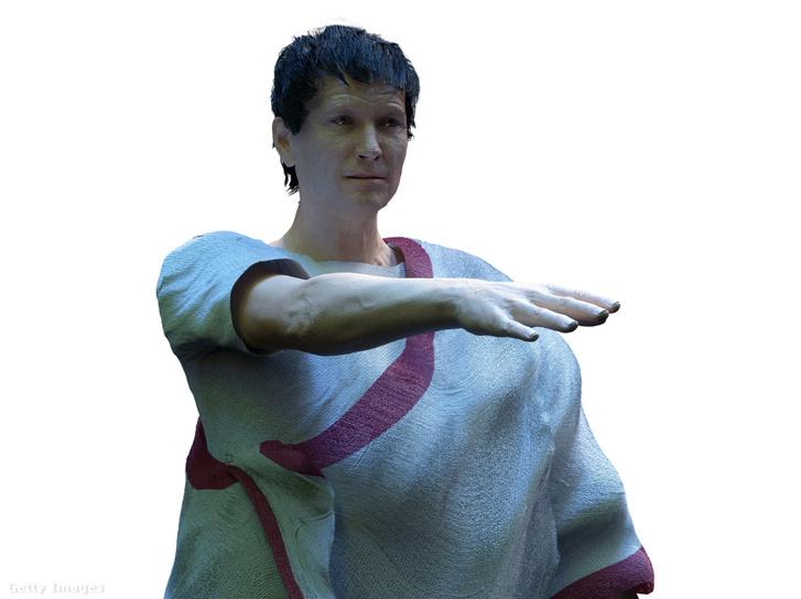 Iulius Caesar számítógéppel készült rekonstrukciója. A megszokott, fehér márványszobrokról kialakult kép ellenére a római szobrok élethűen voltak kifestve, így akár Caesar valamelyik szobra is kinézhetett így