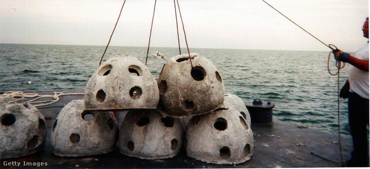 Mesterséges zátonyegység betonjához hozzáadott hamvasztott maradványok, az eljárás az Eternal Reefs találmánya