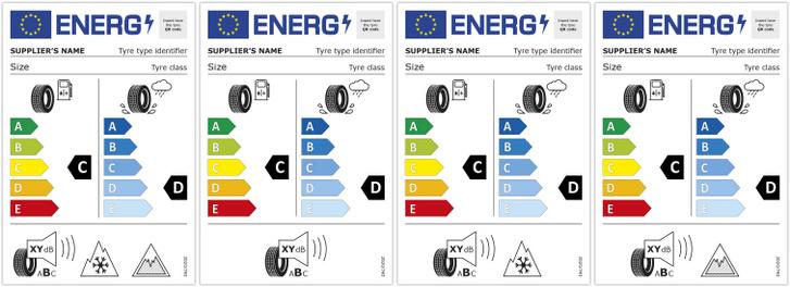 Az EU-s energiacímkék új dizájnt kaptak, nem csak a gumiké. Újdonság a QR-kód, ahonnan elérhető ugyanaz az infó, mint ami a címkén van, illetve a téli vagy a szöges gumik jelölése