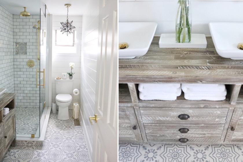 Ebbe a fürdőbe a helyiség alakjával harmonizáló, hosszúkás zuhany került, így még a WC is elfért mellette. Tárolóhelyet egy sokfiókos, ajtós szekrénnyel teremtettek. Hála a járólap mintájának, a tér széltében is nagyobbnak hat.