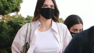 Kendall Jenner rákapott, hogy melltartó nélkül hordjon fehér topot