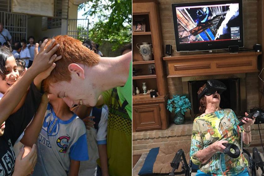 Lefotózták, ahogy a gyerekek először látnak vörös hajú embert: zseniális képek az első pillanatokról