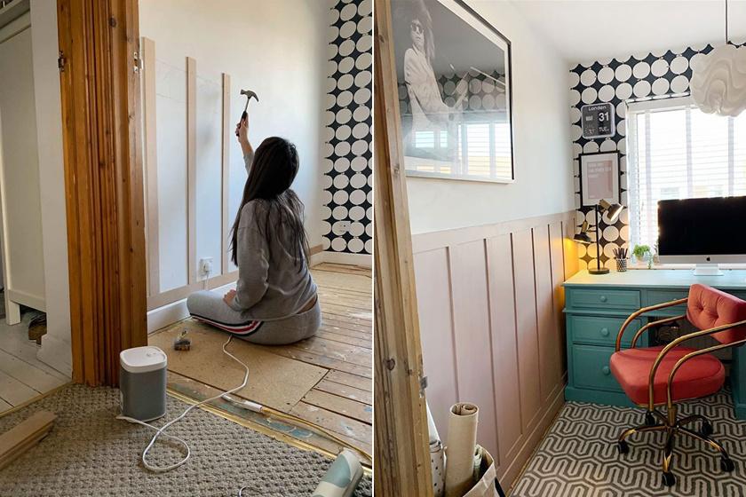 Az édesanya megérte lányát, hogy segítsen neki lemérni a fali panelekhez szükséges léceket. Bea kezdetben félénken állt neki a projektnek, de aztán hamar rákapott az ízére, és az egész szobát kidekorálta.