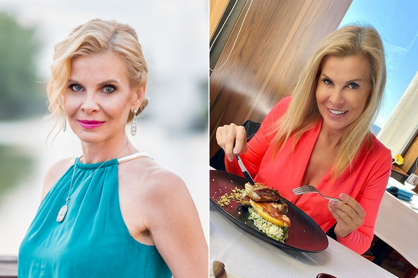 A feleségek luxuskivitelben 2. évadában és 2021 februárjában: a jobb oldali képen feltűnőbb, hogy a két szemöldöke nincs egy magasságban.