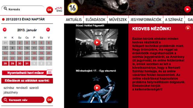 Nem bírta ki a színházbarátok rohamát a Nemzeti honlapja