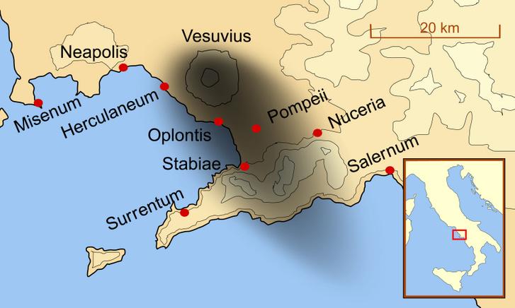A Nápolyi-öböl környéki korabeli városok a Vezúv kitörésekor. A sötét folt mutatja, meddig terjedt a vulkánkitörés pusztítása, amit a földrengés, a láva és a vulkáni hamu okozott.