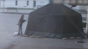 Videó: szétvágta a katonai sátrat a harkányi asszony, mert zavarta a városképet