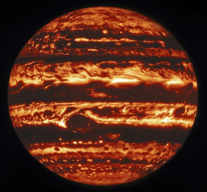 A Jupiter infravörös hullámhosszon.