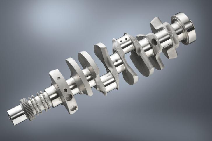 Négyfelé áll a négy forgattyú az E92-es BMW M3-as V8-as motorjának főtengelyén. Ez is térforgattyús, vagyis cross plane