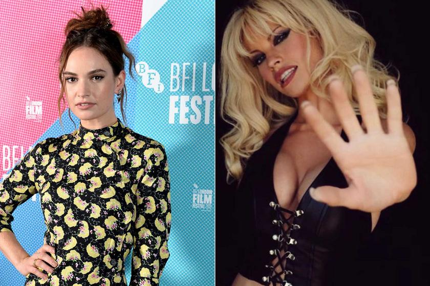 Lily James 2019-ben egy jótékonysági eseményen és az Instagramon Pamela Anderson bőrébe bújva.