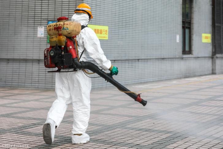 Fertőtlenítés a taipeji városi kórházban