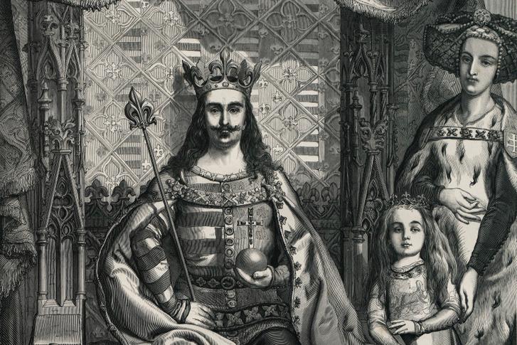 Nagy Lajos király felesége, Kotromanić Erzsébet királyné és leánya, a későbbi Mária magyar királynő mellett