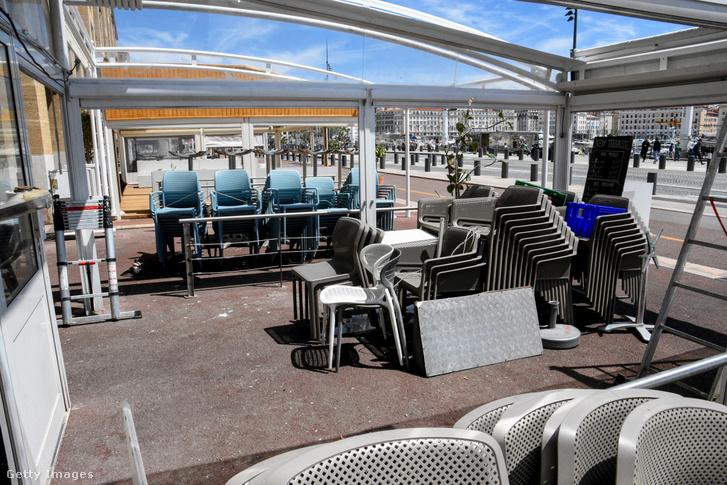 Zárva tartó vendéglátóhelyek Marseille-ben 2021. május 9-én
