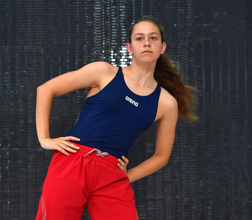 Mihályvári-Farkas Viktória, a 7. FINA Junior Úszó-világbajnokságon induló versenyző edzésen a budapesti Duna Arénában 2019. augusztus 16-án.