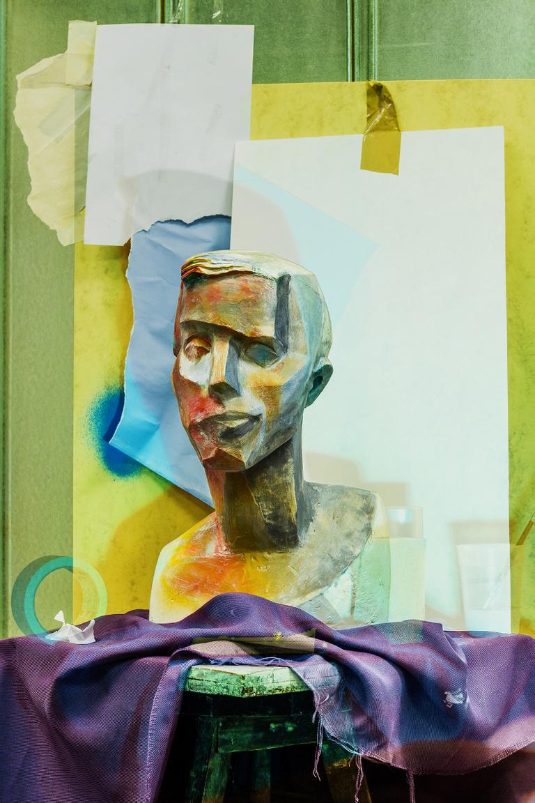 4177 Painted plaster head (Self-portrait of a man in orange), 2015