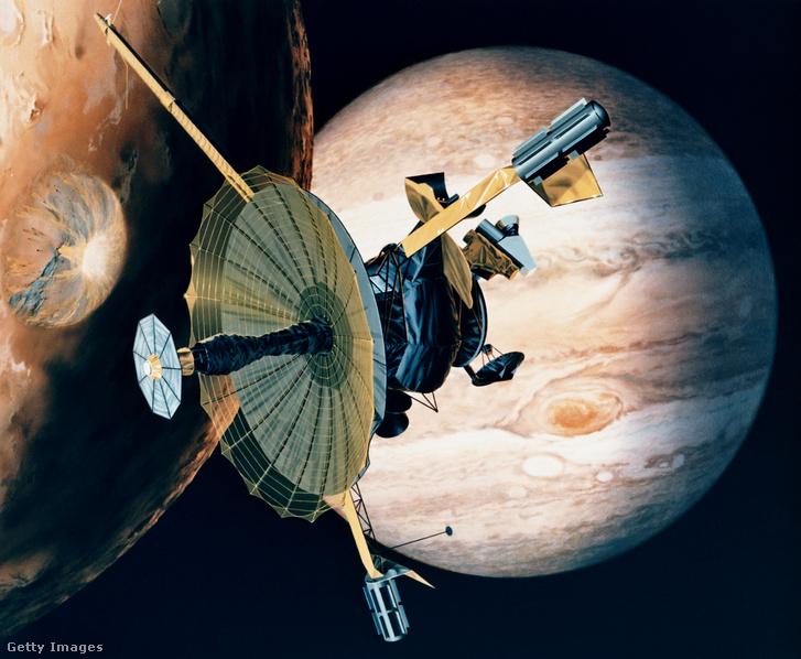 A Galileo szonda áthalad a Jupiter 16 holdjának egyikén