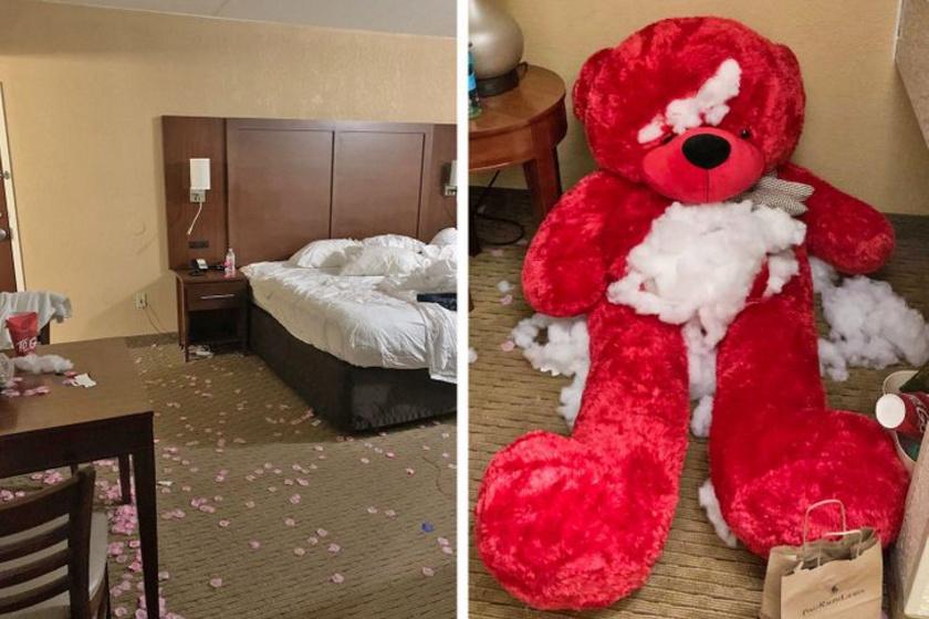 A hotel takarítónője érthető módon nem repesett az örömtől, amikor meglátta, hogyan hagyták ott a vendégek a szobát.