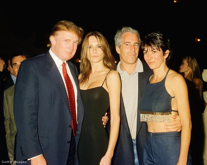 Donald Trump, Melania Knauss (ma már Melania Trump), Jeffrey Epstein és Ghislaine Maxwell 2000. február 12-én